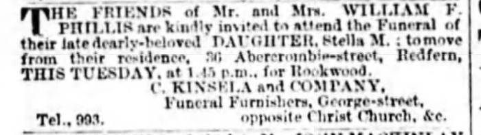 """Stella M. Phillis Funeral,"" funeral notice, The Sydney Morning Herald (Sydney, New South Wales, Australia), 19 Nov 1895, p. 8, col. 1."