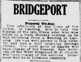 """Steve Ader Funeral, Bridgeport,"" obituary, Wheeling Intelligencer (Wheeling, West Virginia), 15 May 1913, p. 6, col. 4."