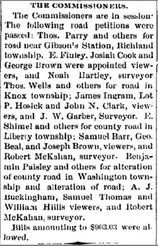 """The Commissioners, Samuel Thomas, viewer,"" news article, Cambridge Jeffersonian (Cambridge, Ohio), 9 Jun 1881, p. 3, col. 6."