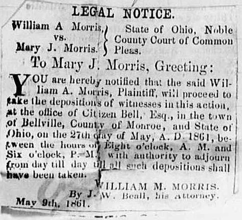 """William A. Morris vs. Mary J. Morris,"" newspaper notice, Noble County Republican (Caldwell, Ohio), May 1861."
