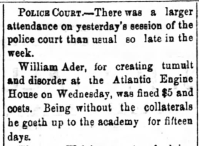 """""""William Ader Fined, Goes to Academy,"""" newspaper notice, The Wheeling Daily Register (Wheeling, West Virginia), 14 Nov 1873, p. 4, col. 3."""