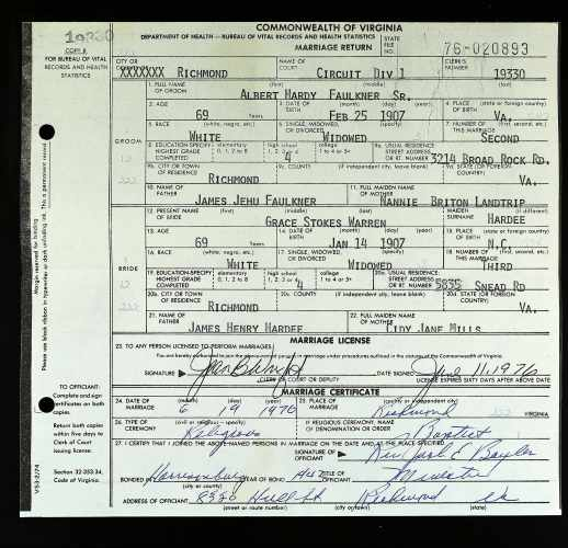 Commonwealth of Virginia, Marriage Return, no.76-020893, Richmond, Faulkner–Hardee Warren, 19 June 1976.