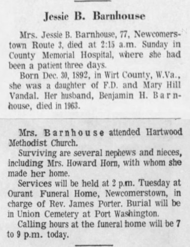 """Jessie B. Barnhouse,"" obituary, The Tribune (Coshocton, Ohio), 5 Jan 1970, p. 7, col. 5."