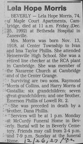 """Lela Hope Morris,"" obituary, Marietta Times (Marietta, Ohio), 26 Dec 1992"