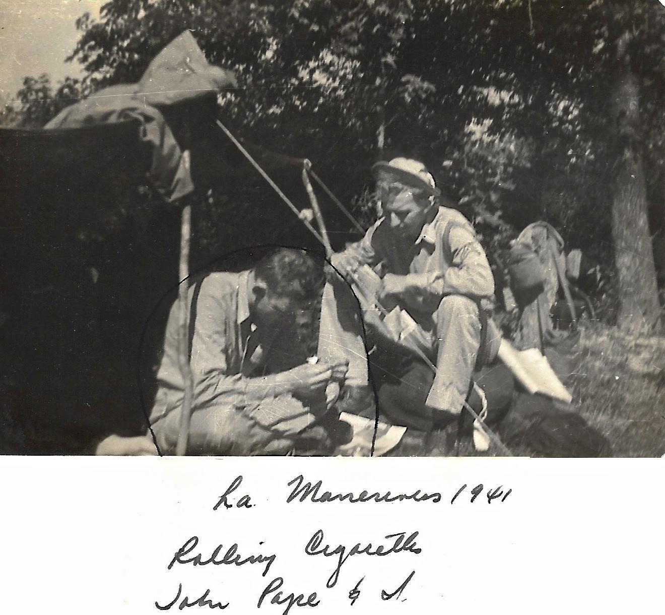 1941 WWII Ernie Faulkner, John Pope, Louisiana Maneuvers