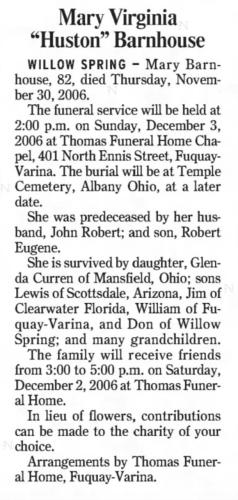 """Mary Virginia 'Huston' Barnhouse,"" obituary, The News and Observer (Raleigh, North Carolina), 1 Dec 2006, p. B9, col. 3."