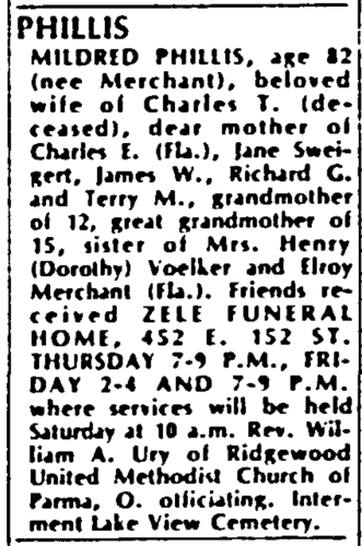 """Mildred Phillis,"" obituary, The Plain Dealer (Cleveland, Ohio), 9 May 1986, p. 9C, col. 6."