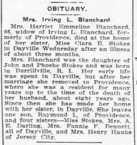 """Mrs. Irving L. Blanchard,"" obituary, Norwich Bulletin (Norwich, Connecticut), 19 Aug 1915, p. 10, col. 2."