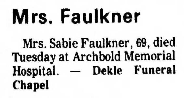 """Mrs. Sable Faulkner,"" death notice, Thomasville Times Enterprise (Thomasville, Georgia), 26 Dec 1975, p. 12, col. 4."