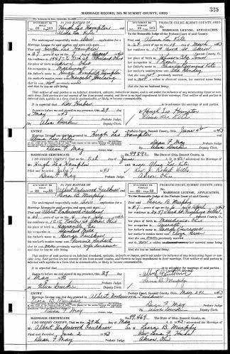 Summit County, Ohio, Marriage Record 1943, vol. 94, p. 335, no. 99469, Underwood–Murphy, 29 May 1943.