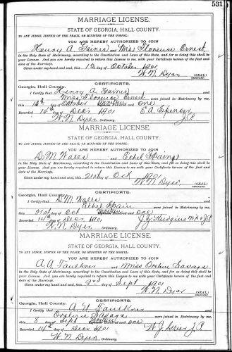 The Georgia Archives, Morrow, Georgia, Hall County, Marriage License Register, p. 531, A. U. Faulkner–Miss Oveline Savage, 2 Sept 1901.