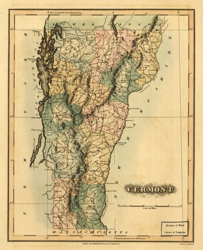 Vermont, 1826, Library of Congress, Geography and Map Division