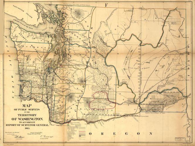 Washington Territory Map, 1865