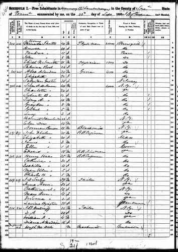 1850 U.S. census, Harmony, Susquehanna County, Pennsylvania, population schedule, p. 466 (penned), dwelling 206, family 214, Henry Shutts household.