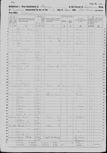 1860 U. S. census, Harmony, Susquehanna County, Pennsylvania, p. 176, households 1381 and 1383, families 1390 and 1391, Josiah Benedict and Jeremiah Benedict households.