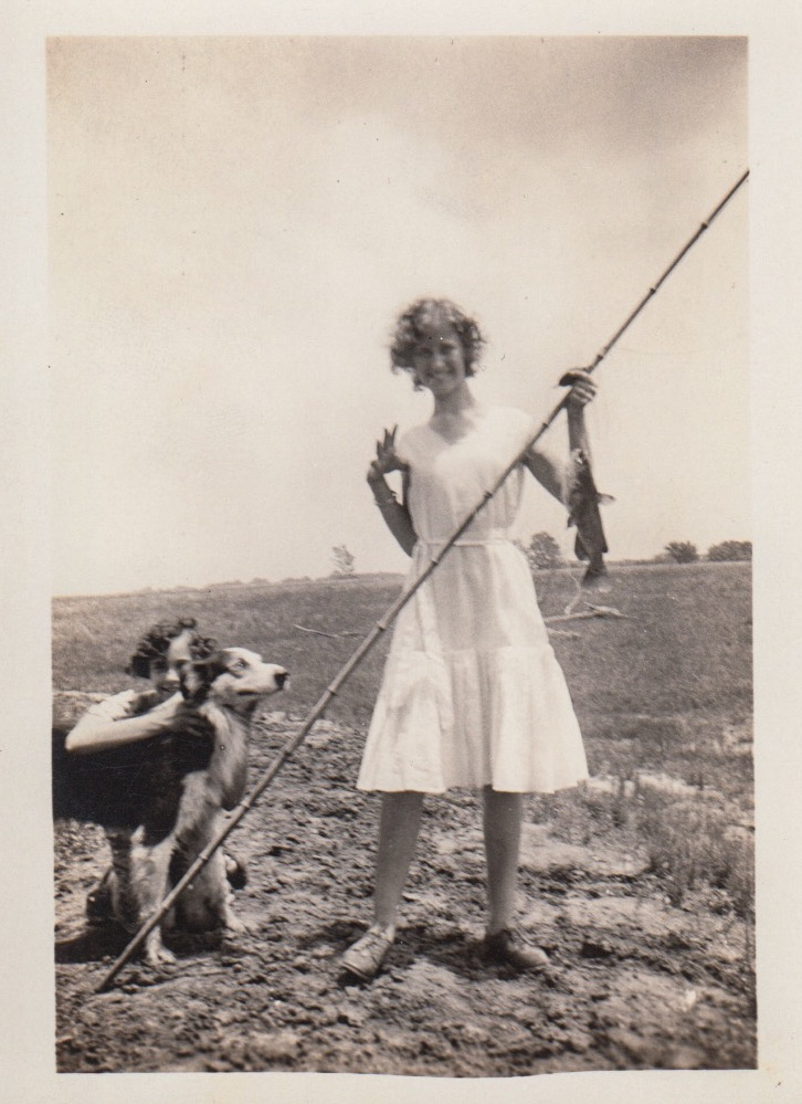 Eleanor Phillis and unknown person with dog, ca. 1930