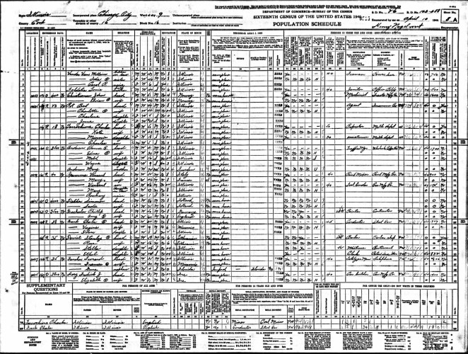 1940 U.S. census, Chicago, Cook County, Illinois, population schedule, enumeration district (ED) 103-588, sheet 8A, dwelling 166, Leonard Fancher household.
