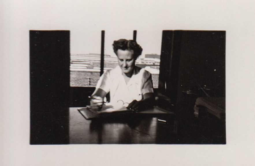 Eleanor Baird working at the Professional Building, ca. 1940s