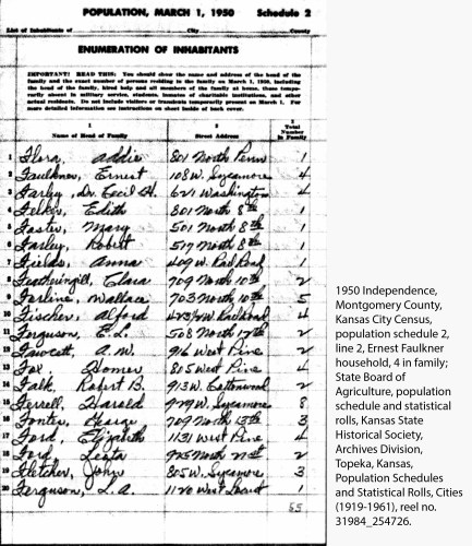 1950 Independence, Montgomery County, Kansas City Census, population schedule 2, line 2, Ernest Faulkner household, 4 in family