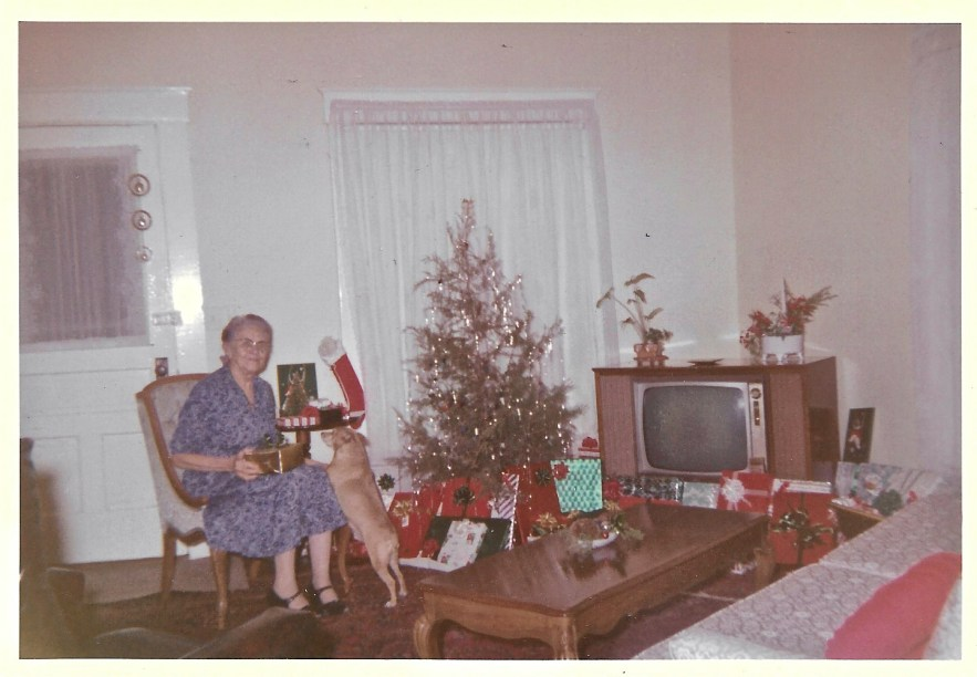 1960 Myrtle Phillis in living room at Christmas