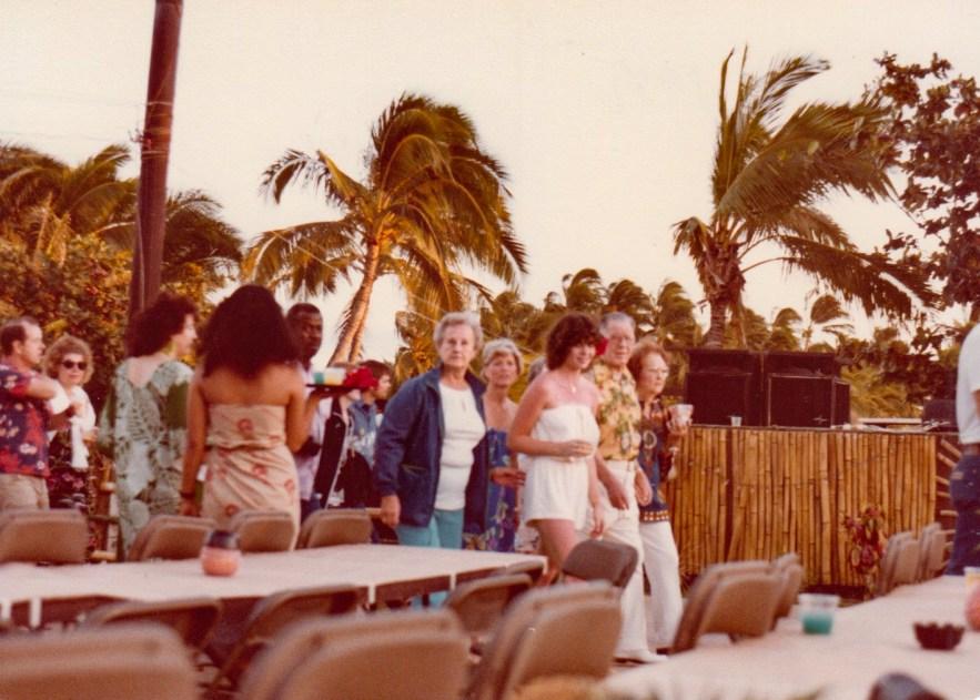 Eleanor Baird and Kimberli Faulkner Hull at lūʻau, 1981