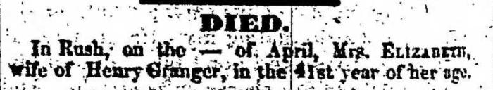"""Elizabeth Granger,"" death notice, Montrose Independent Republican (Montrose, Pennsylvania), 14 May 1857, p. 2, col. 7."