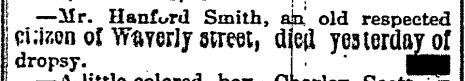 """Hanford Smith, Waverly"" death notice, Elmira Daily Advertiser (Elmira, New York), 27 May 1880, p. 2, col. 4."