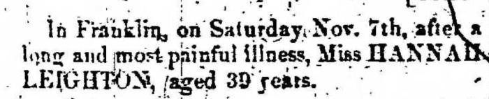 """""""Hannah Leighton,"""" death notice, Montrose Democrat (Montrose, Pennsylvania), 24 Dec 1857, p. 3, col. 1."""