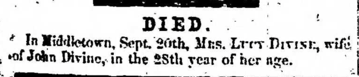 """Lucy Divine,"" death notice, Montrose Independent Republican (Montrose, Pennsylvania), 24 Sept 1857, p. 3, col. 1."
