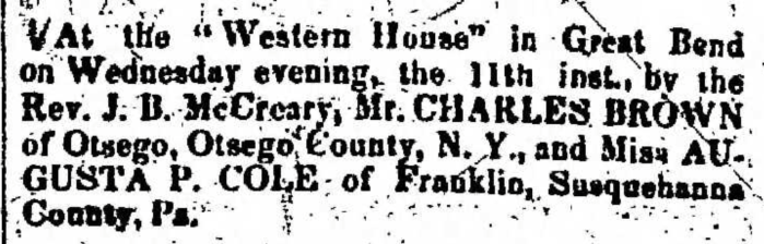 """Married, Charles Brown and Augusta P. Cole,"" marriage announcement, Montrose Democrat (Montrose, Pennsylvania), 19 Nov 1857, p. 2, col. 7."