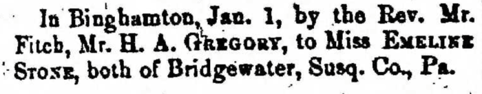 """""""Married, H. A Gregory and Emeline Stone,"""" marriage announcement, Montrose Democrat (Montrose, Pennsylvania), 29 Jan 1857, p. 3, col. 1."""