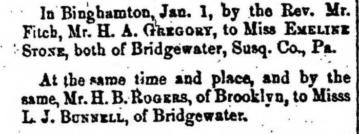 """Married, H. B. Rogers and L. J. Bunnell,"" marriage announcement, Montrose Democrat (Montrose, Pennsylvania), 29 Jan 1857, p. 3, col. 1."