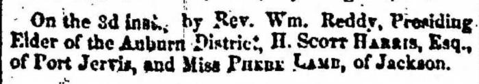 """Married, H. Scott Harris, Esq. and Phebe Lamb,"" marriage announcement, Montrose Independent Republican (Montrose, Pennsylvania), 10 Dec 1857, p. 3, col. 2."