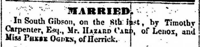 """""""Married, Hazard Card and Phebe Ogden,"""" marriage announcement, Montrose Independent Republican (Montrose, Pennsylvania), 24 Dec 1857, p. 3, col. 2."""