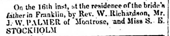 """Married, J. W. Palmer and S. E. Stockholm,"" marriage announcement, Montrose Democrat (Montrose, Pennsylvania), 24 Sept 1857, p. 3, col. 1."