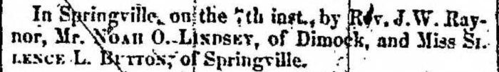 """Married, Noah O. Lindsey and Silence L. Button,"" marriage announcement, Montrose Independent Republican (Montrose, Pennsylvania), 21 Jan 1858, p. 3, col. 5."
