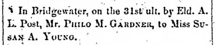 """Married, Philo M. Gardner and Susan A. Young,"" marriage announcement, Montrose Democrat (Montrose, Pennsylvania), 9 Jan 1857, p. 2, col. 6."