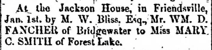 """Married, William D. Fancher and Mary C. Smith,"" marriage announcement, Montrose Democrat (Montrose, Pennsylvania), 8 Jan 1858, p. 3, col. 2."