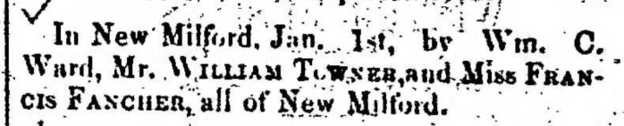 """Married, William Towner and Francis Fancher,"" marriage announcement, Montrose Democrat (Montrose, Pennsylvania), 15 Jan 1857, p. 2, col. 7."