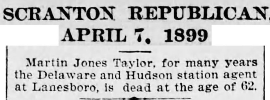 """Martin Jones Taylor Dies,"" death notice, The Tribune (Scranton, Pennsylvania), 7 Apr 1899, p. 4, col. 4."