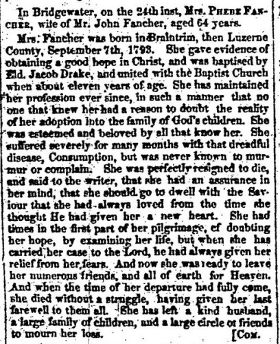 """Mrs. Phebe Fancher,"" obituary, Montrose Independent Republican (Montrose, Pennsylvania), 30 Apr 1857, p. 3, col. 2."