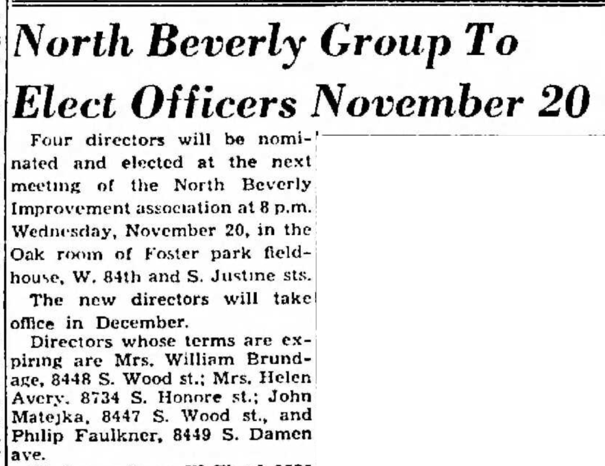 """""""North Beverly Group to Elect Officers November 20, Philip L. Faulkner, Director, Term Expiring,"""" news article, Southeast Economist (Chicago, Illinois), 17 Nov 1957, section 1, p. 9, col. 3."""