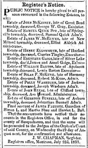 """Register's Notice, Estates,"" newspaper notice, Montrose Democrat (Montrose, Pennsylvania), 23 July 1857, p. 2, col. 6."