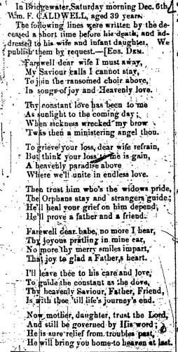 """""""William F. Caldwell,"""" death notice, Montrose Democrat (Montrose, Pennsylvania), 24 Dec 1857, p. 3, col. 1."""
