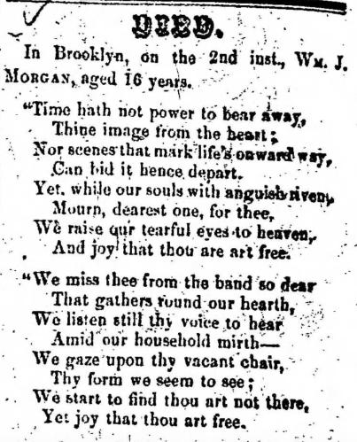"""""""William J. Morgan,"""" obituary, Montrose Democrat (Montrose, Pennsylvania), 19 Mar 1857, p. 2, col. 7."""