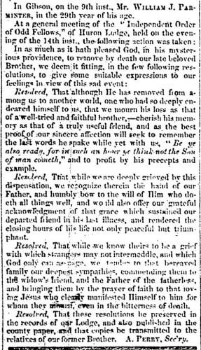 """William J. Parminter,"" obituary, Montrose Independent Republican (Montrose, Pennsylvania), 26 Nov 1857, p. 3, col. 2."