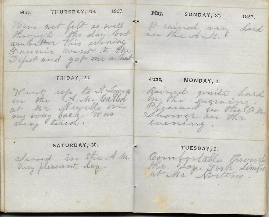 Ann M. Hull, Diary of 1857, (Susquehanna County, Pennsylvania), 1-2 June 1857, privately held by Faulkner-Hull Collection