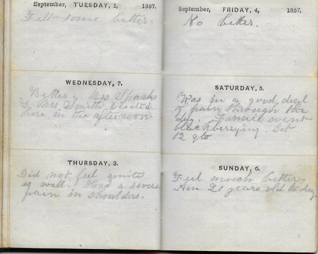 Ann M. Hull, Diary of 1857, (Susquehanna County, Pennsylvania), 1-6 September 1857, privately held by Faulkner-Hull Collection
