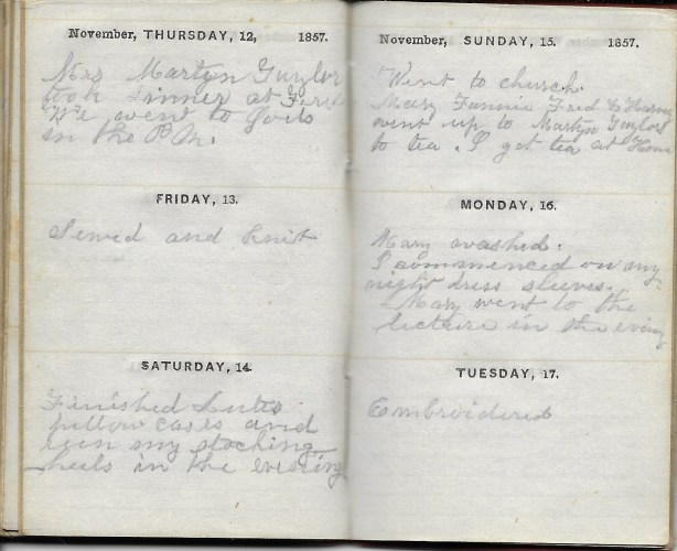 Ann M. Hull, Diary of 1857, (Susquehanna County, Pennsylvania), 12-17 November 1857, privately held by Faulkner-Hull Collection