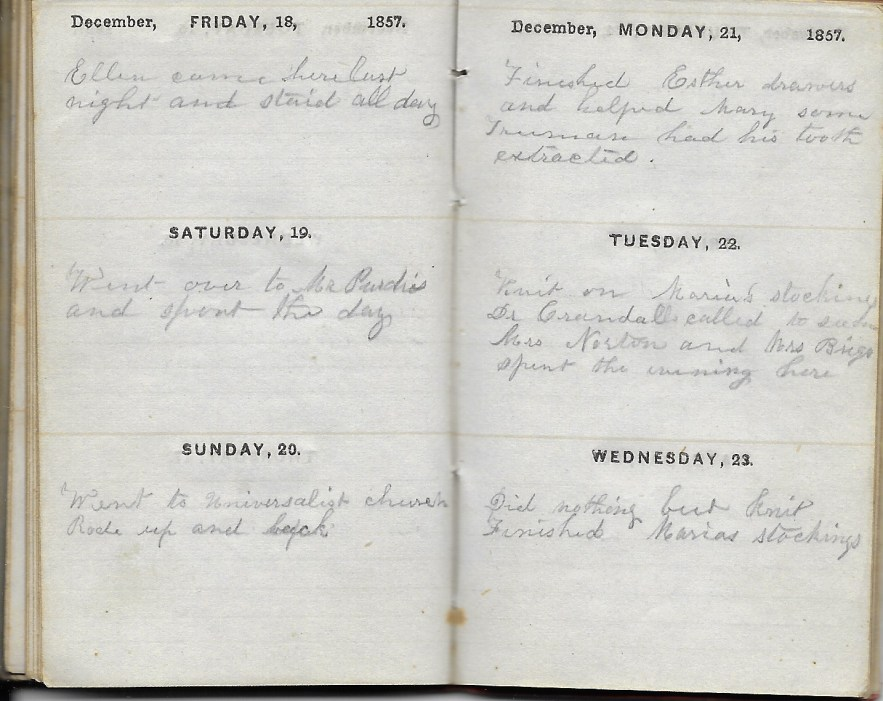 Ann M. Hull, Diary of 1857, (Susquehanna County, Pennsylvania), 18-23 December 1857, privately held by Faulkner-Hull Collection
